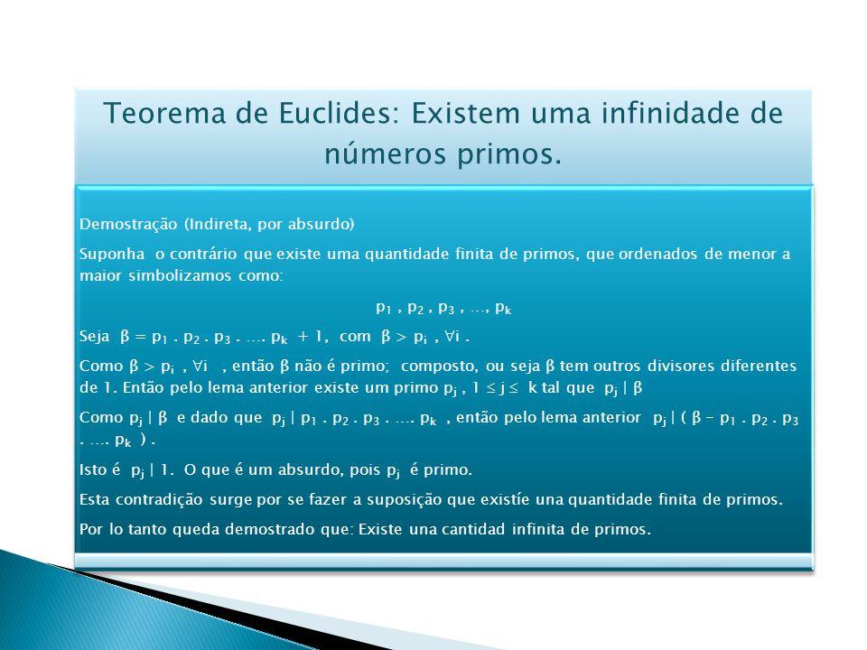 Teorema de Euclides: Existem uma infinidade de números primos.