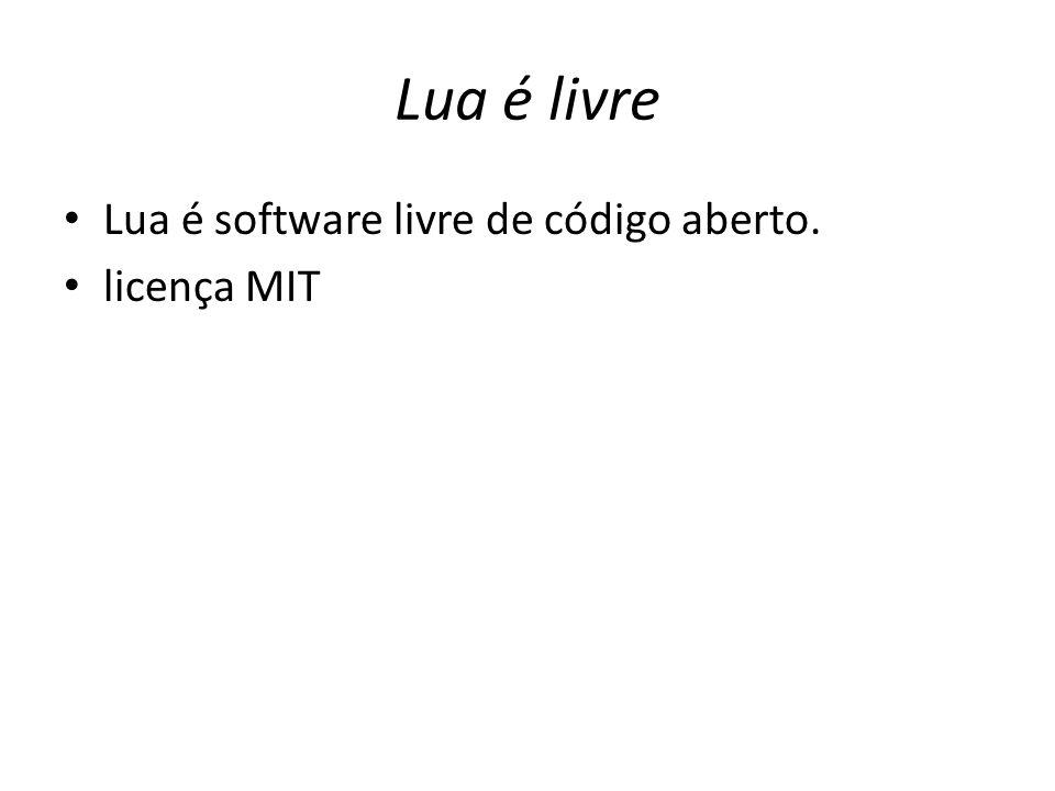 Lua é livre Lua é software livre de código aberto. licença MIT