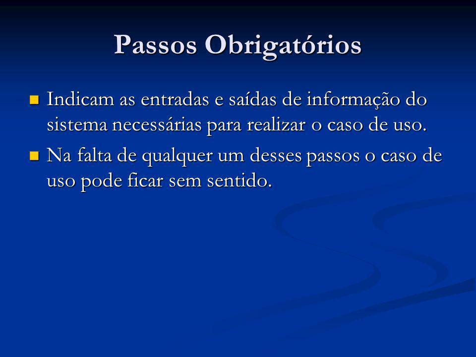 Passos Obrigatórios Indicam as entradas e saídas de informação do sistema necessárias para realizar o caso de uso.