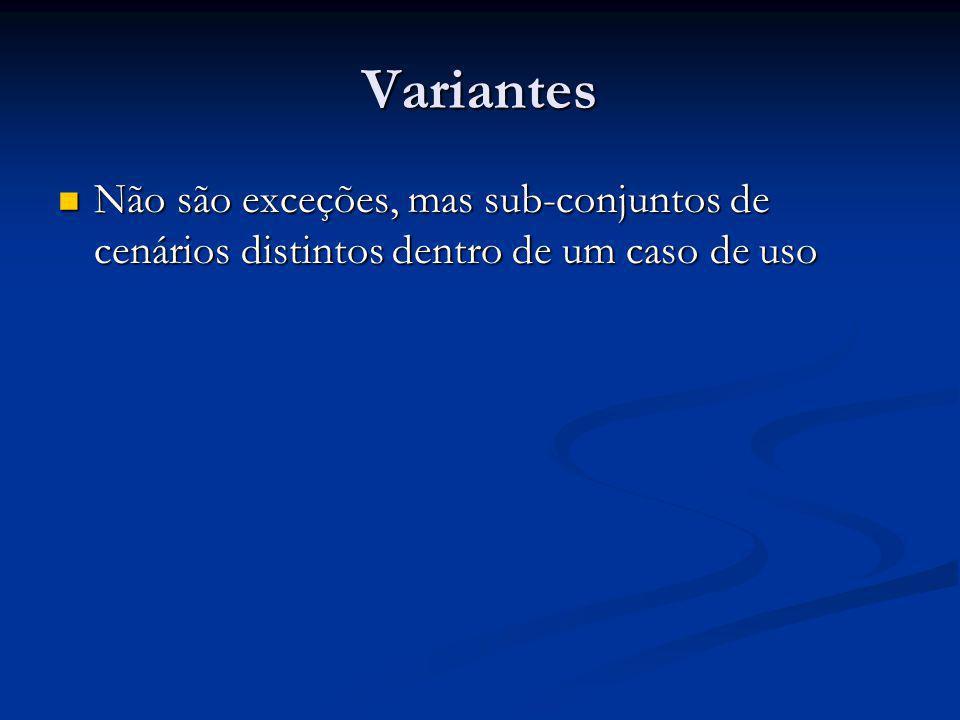 Variantes Não são exceções, mas sub-conjuntos de cenários distintos dentro de um caso de uso