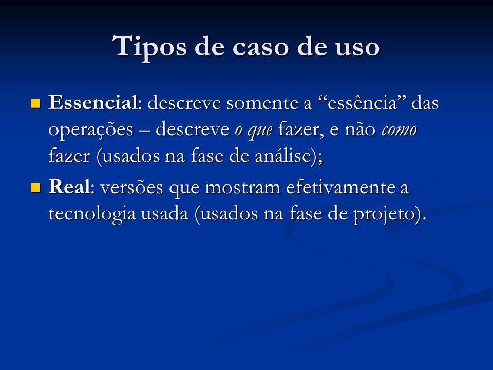 Tipos de caso de uso Essencial: descreve somente a essência das operações – descreve o que fazer, e não como fazer (usados na fase de análise);