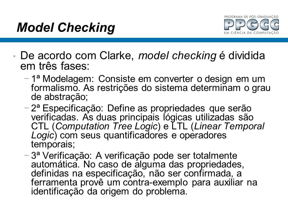 Model Checking De acordo com Clarke, model checking é dividida em três fases: