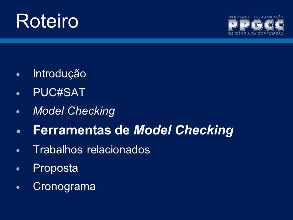 Roteiro Ferramentas de Model Checking Introdução PUC#SAT