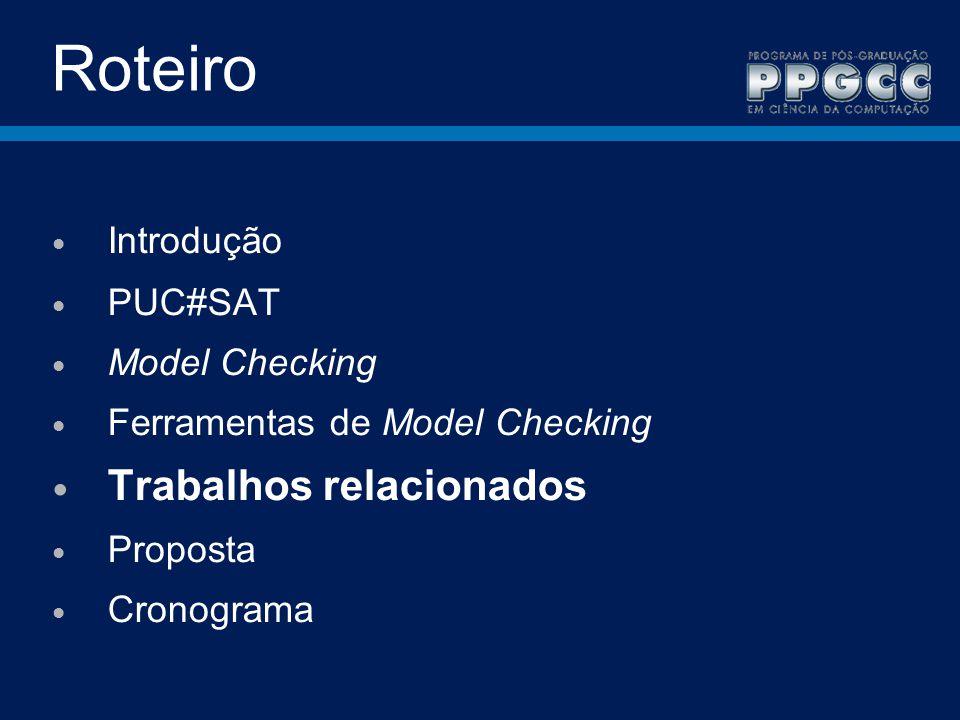 Roteiro Trabalhos relacionados Introdução PUC#SAT Model Checking