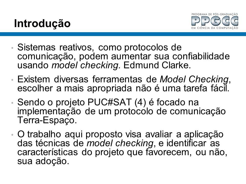 Introdução Sistemas reativos, como protocolos de comunicação, podem aumentar sua confiabilidade usando model checking. Edmund Clarke.
