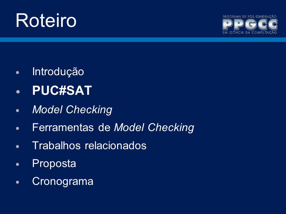 Roteiro PUC#SAT Introdução Model Checking