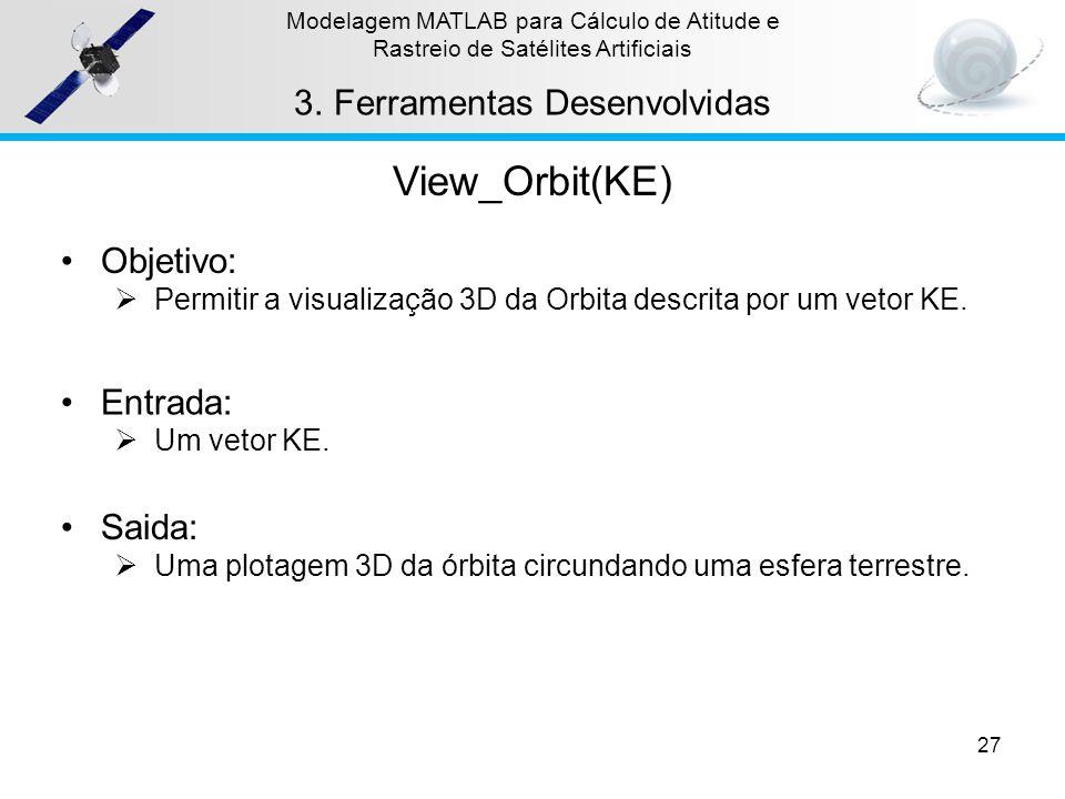 View_Orbit(KE) Ferramentas Desenvolvidas Objetivo: Entrada: Saida: