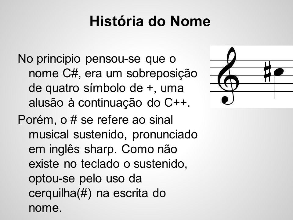História do Nome No principio pensou-se que o nome C#, era um sobreposição de quatro símbolo de +, uma alusão à continuação do C++.