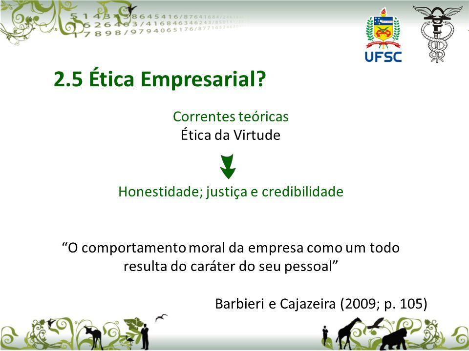 2.5 Ética Empresarial Correntes teóricas Ética da Virtude