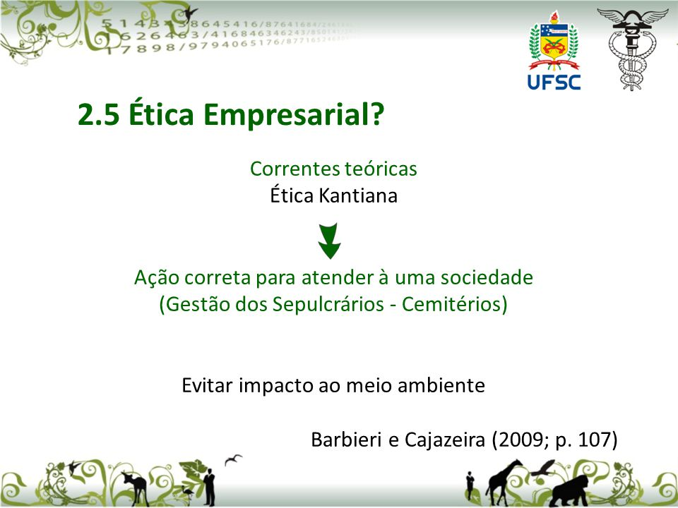 2.5 Ética Empresarial Correntes teóricas Ética Kantiana
