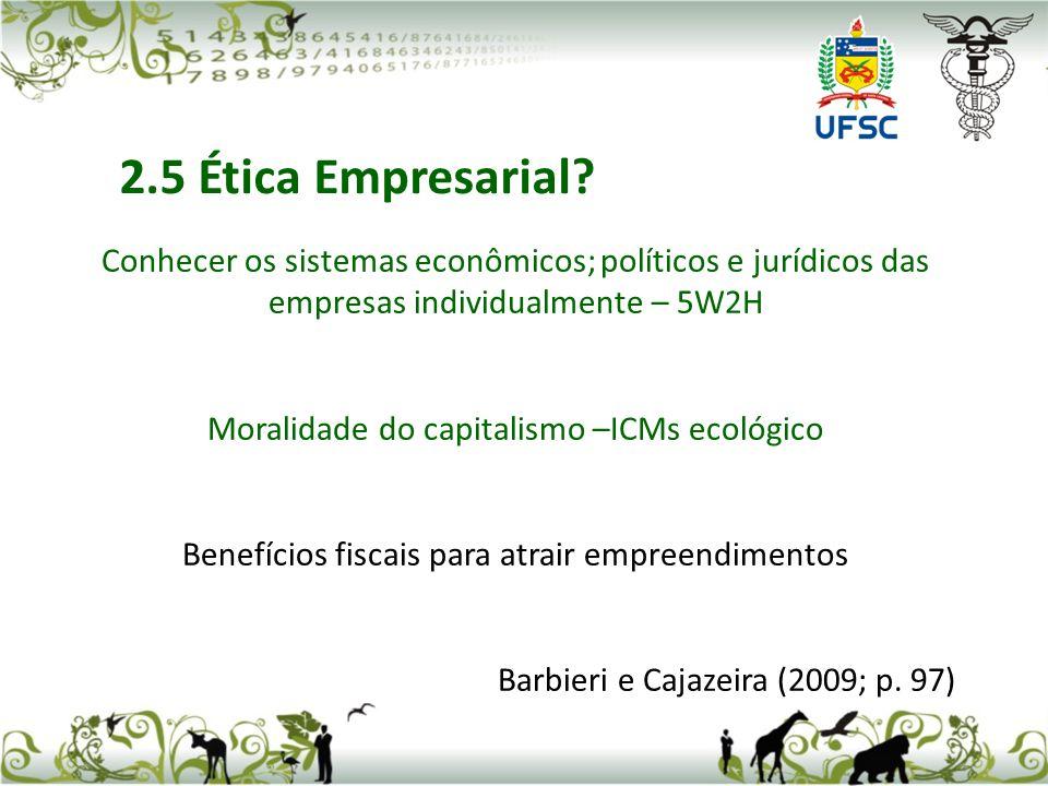 2.5 Ética Empresarial Conhecer os sistemas econômicos; políticos e jurídicos das empresas individualmente – 5W2H.