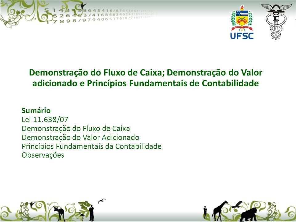 Demonstração do Fluxo de Caixa; Demonstração do Valor adicionado e Princípios Fundamentais de Contabilidade