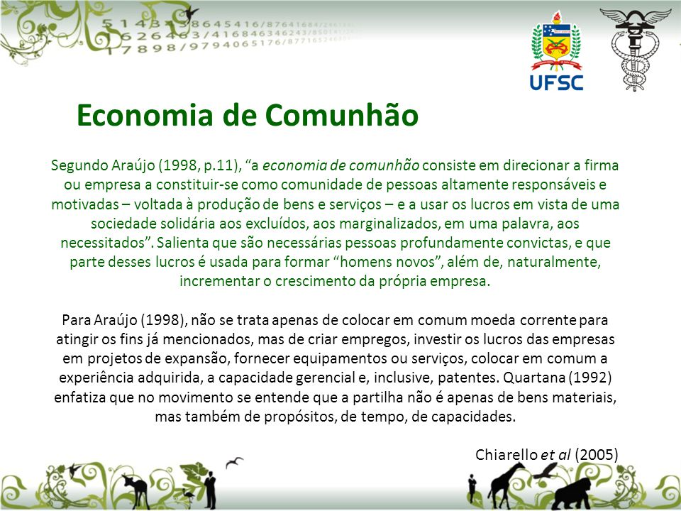 Economia de Comunhão Chiarello et al (2005)