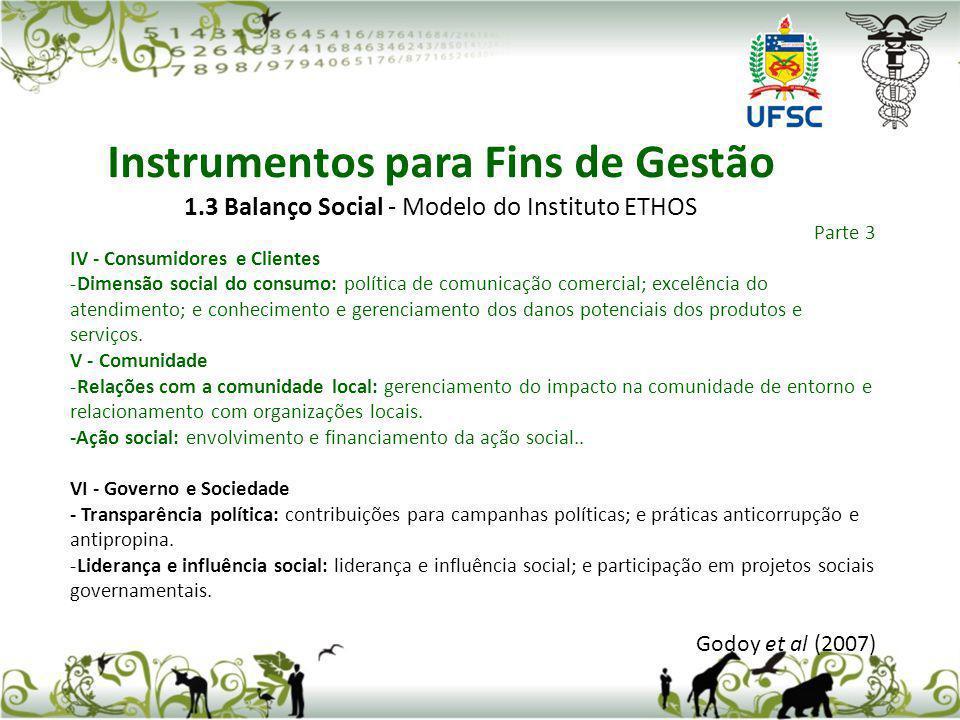 1.3 Balanço Social - Modelo do Instituto ETHOS