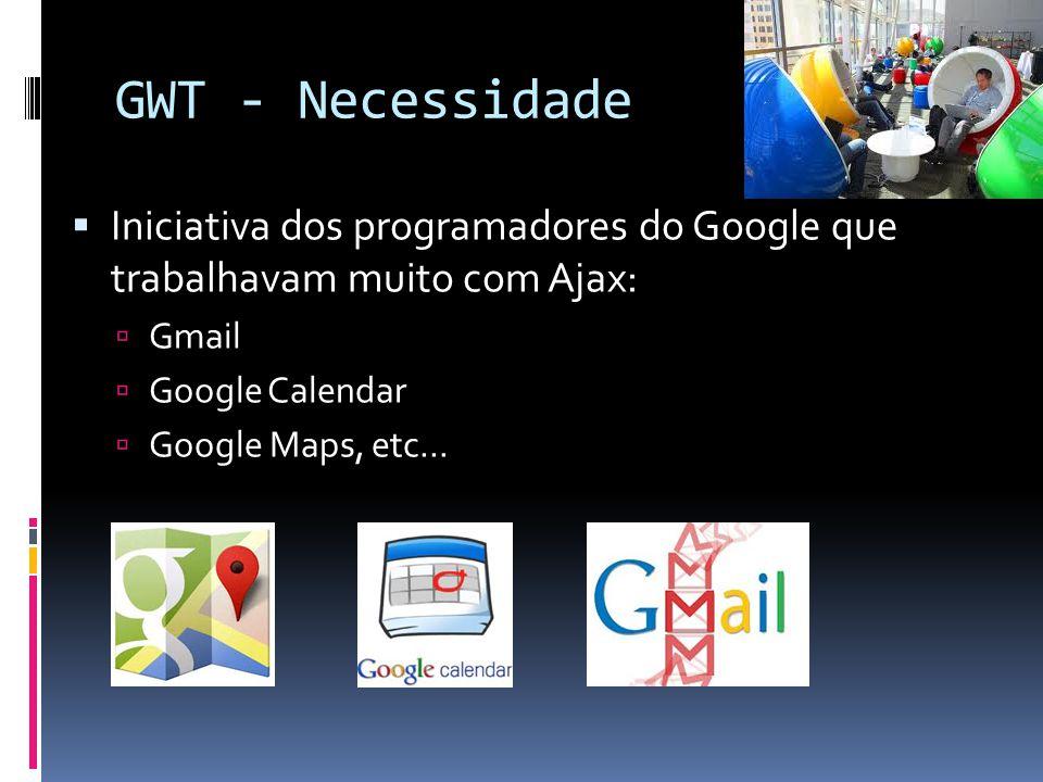 GWT - Necessidade Iniciativa dos programadores do Google que trabalhavam muito com Ajax: Gmail. Google Calendar.