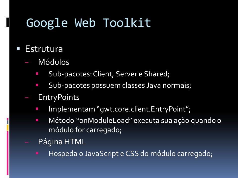 Google Web Toolkit Estrutura Módulos EntryPoints Página HTML