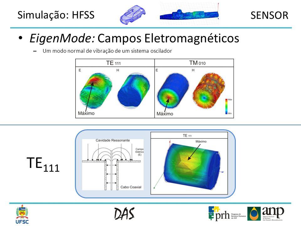 TE111 EigenMode: Campos Eletromagnéticos Simulação: HFSS SENSOR