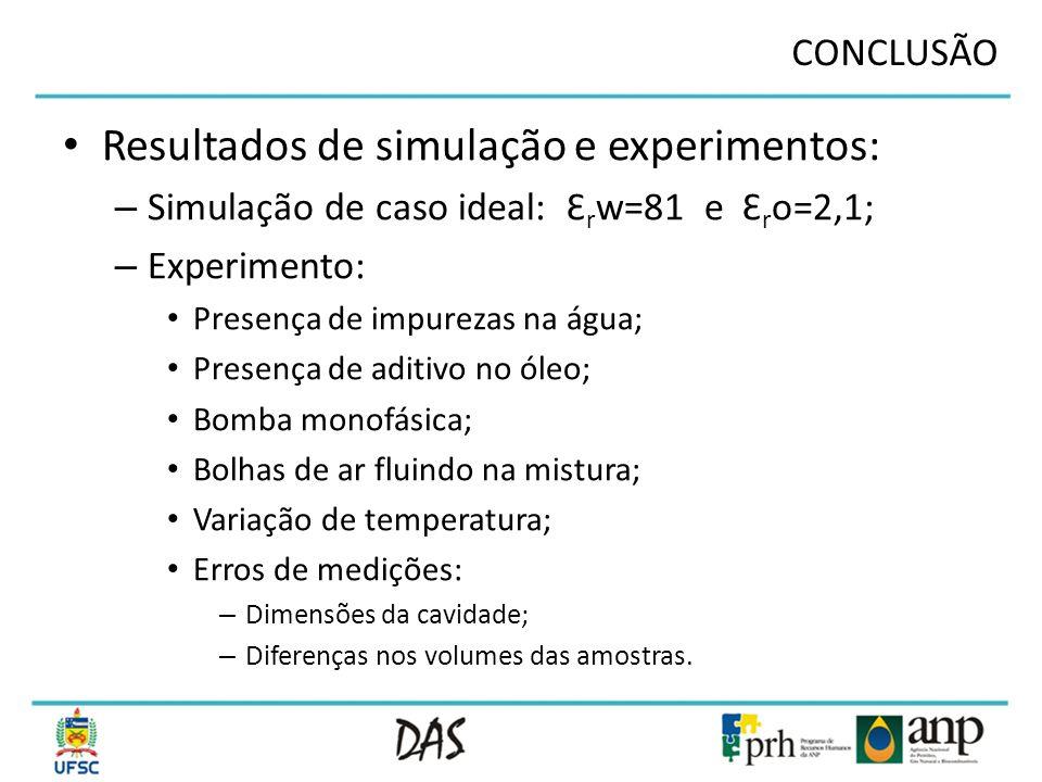 Resultados de simulação e experimentos: