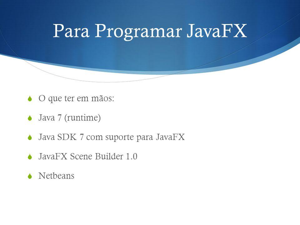 Para Programar JavaFX O que ter em mãos: Java 7 (runtime)