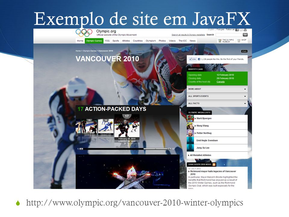 Exemplo de site em JavaFX
