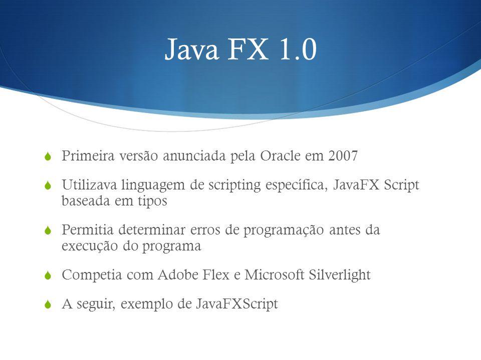 Java FX 1.0 Primeira versão anunciada pela Oracle em 2007
