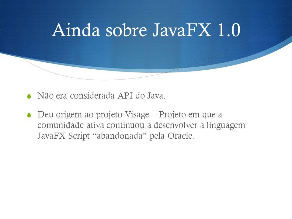 Ainda sobre JavaFX 1.0 Não era considerada API do Java.