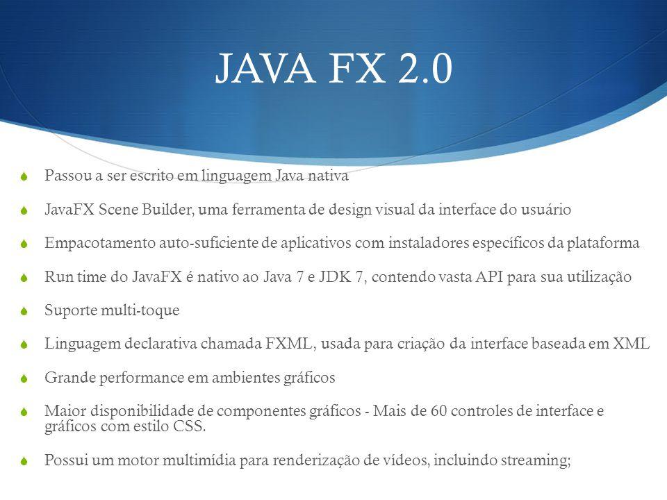 JAVA FX 2.0 Passou a ser escrito em linguagem Java nativa