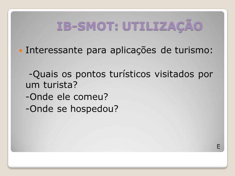 IB-SMOT: UTILIZAÇÃO Interessante para aplicações de turismo: