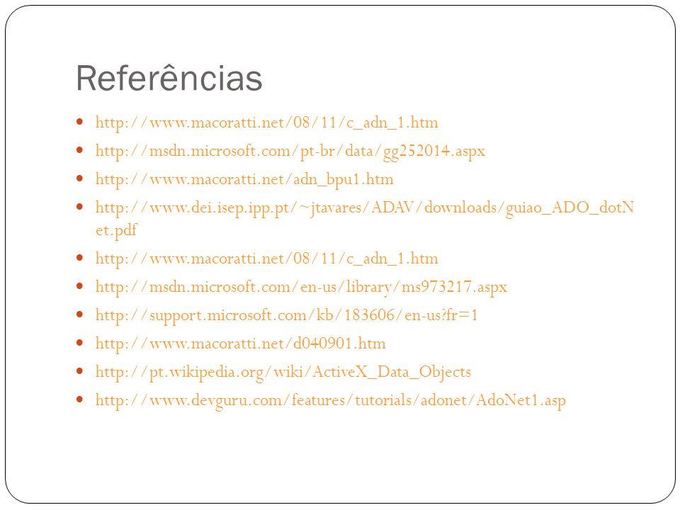 Referências http://www.macoratti.net/08/11/c_adn_1.htm