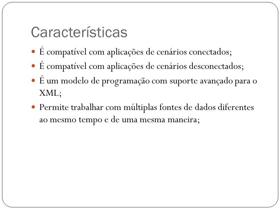 Características É compatível com aplicações de cenários conectados;