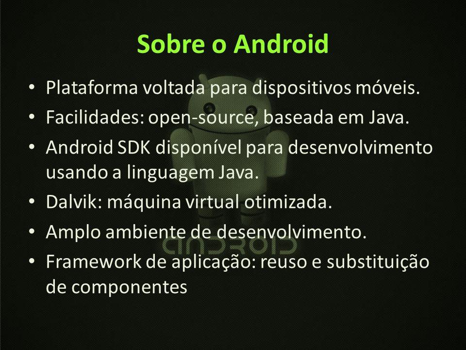 Sobre o Android Plataforma voltada para dispositivos móveis.