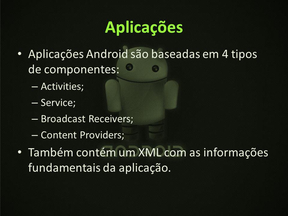 Aplicações Aplicações Android são baseadas em 4 tipos de componentes: