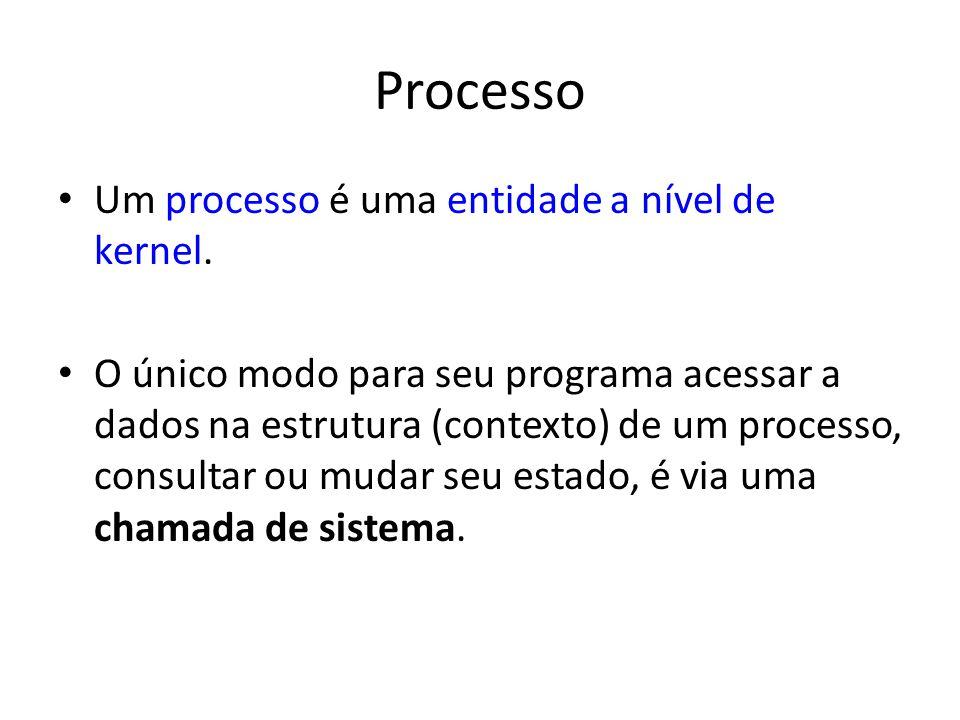 Processo Um processo é uma entidade a nível de kernel.