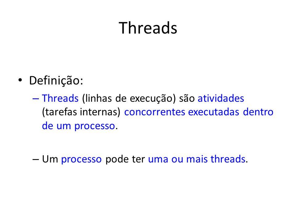Threads Definição: Threads (linhas de execução) são atividades (tarefas internas) concorrentes executadas dentro de um processo.