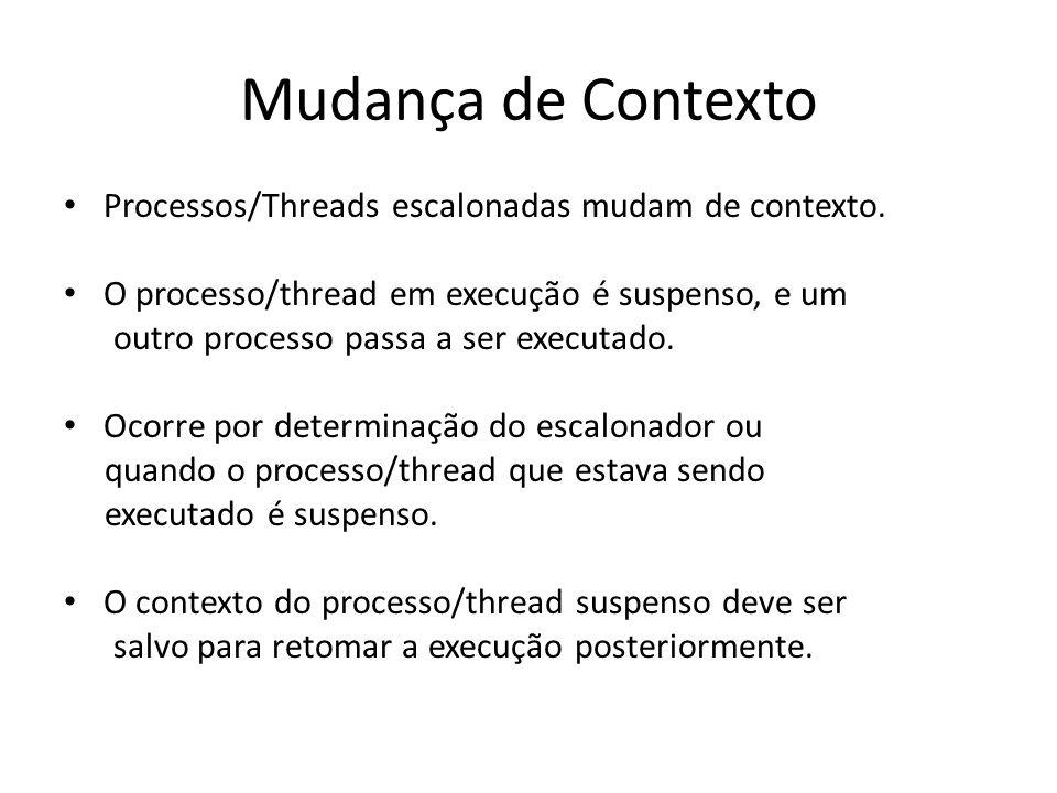 Mudança de Contexto Processos/Threads escalonadas mudam de contexto.