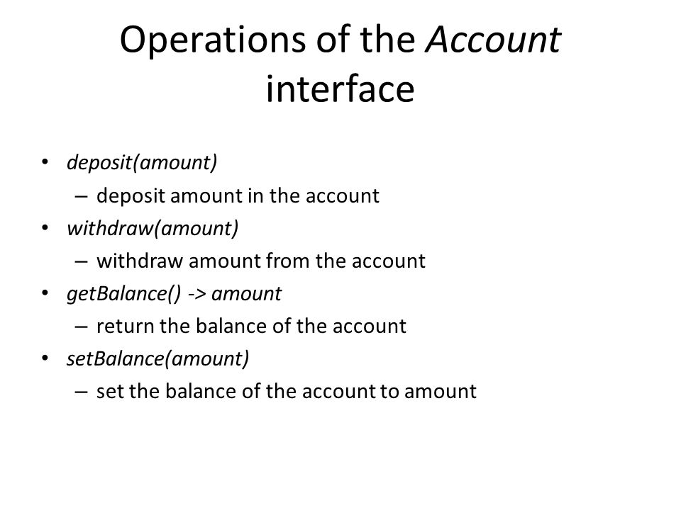 Operations of the Account interface