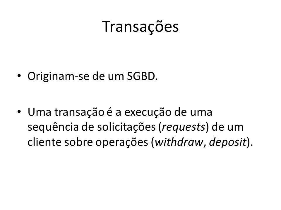 Transações Originam-se de um SGBD.
