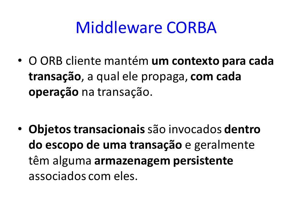 Middleware CORBA O ORB cliente mantém um contexto para cada transação, a qual ele propaga, com cada operação na transação.
