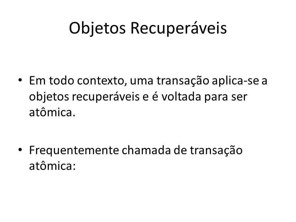 Objetos Recuperáveis Em todo contexto, uma transação aplica-se a objetos recuperáveis e é voltada para ser atômica.