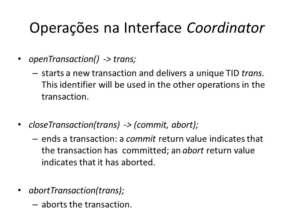 Operações na Interface Coordinator