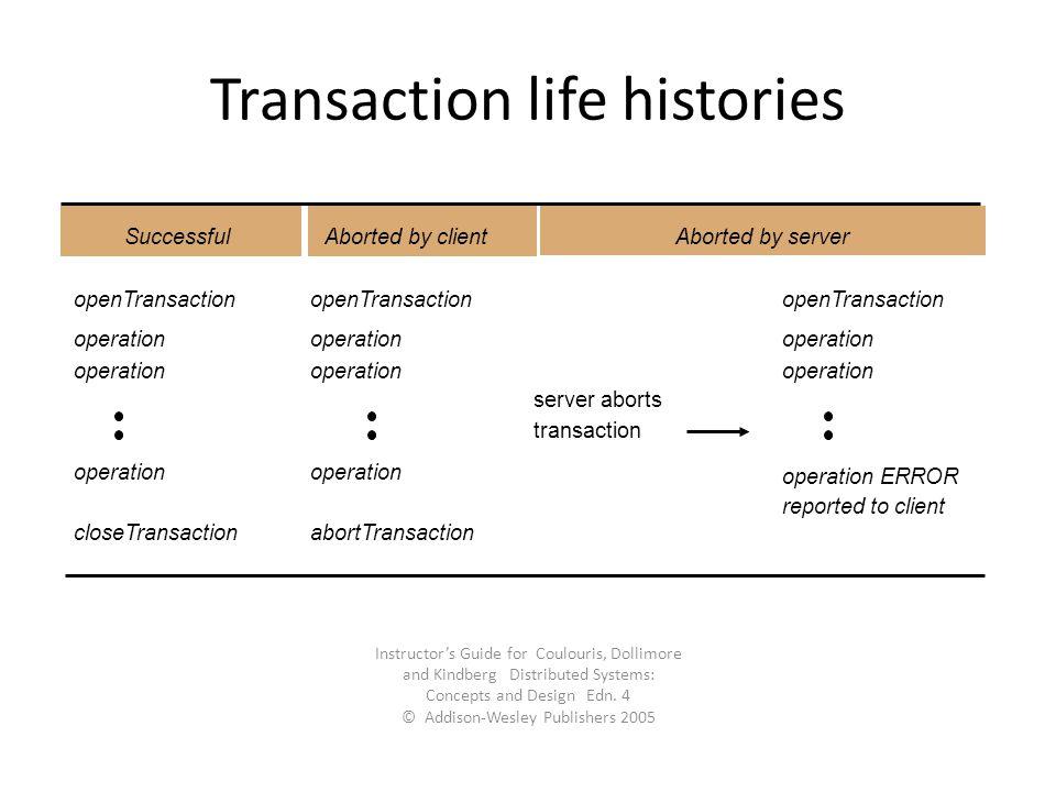 Transaction life histories