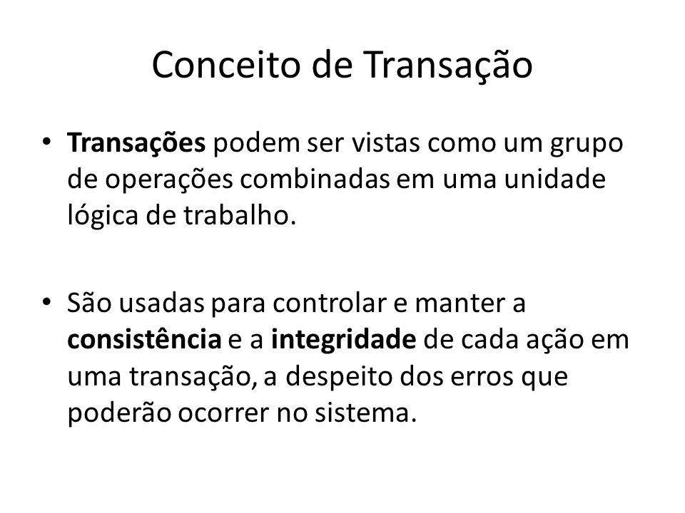 Conceito de Transação Transações podem ser vistas como um grupo de operações combinadas em uma unidade lógica de trabalho.