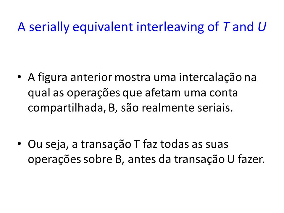A serially equivalent interleaving of T and U