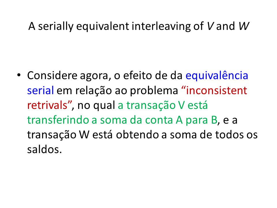 A serially equivalent interleaving of V and W