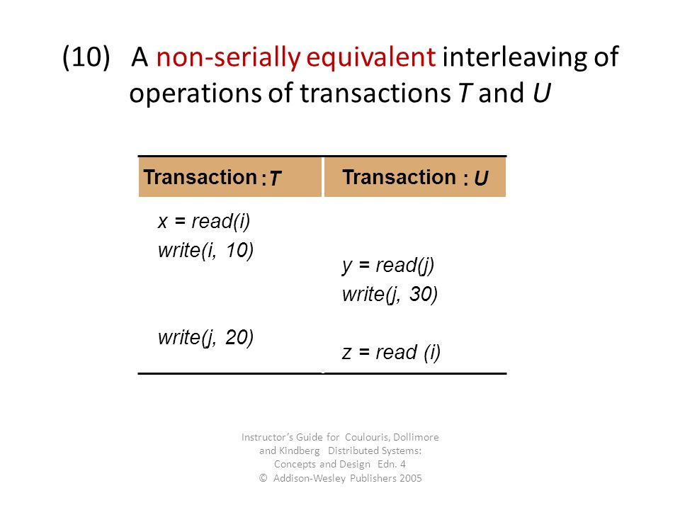 (10) A non-serially equivalent interleaving of operations of transactions T and U