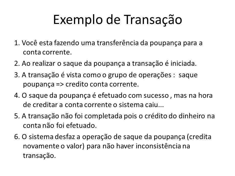 Exemplo de Transação 1. Você esta fazendo uma transferência da poupança para a conta corrente.