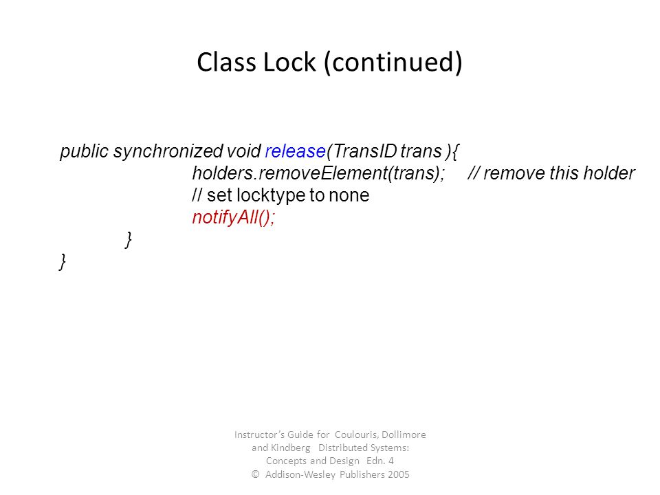 Class Lock (continued)