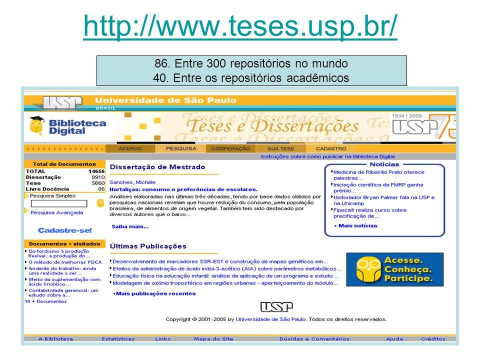 http://www.teses.usp.br/ 86. Entre 300 repositórios no mundo