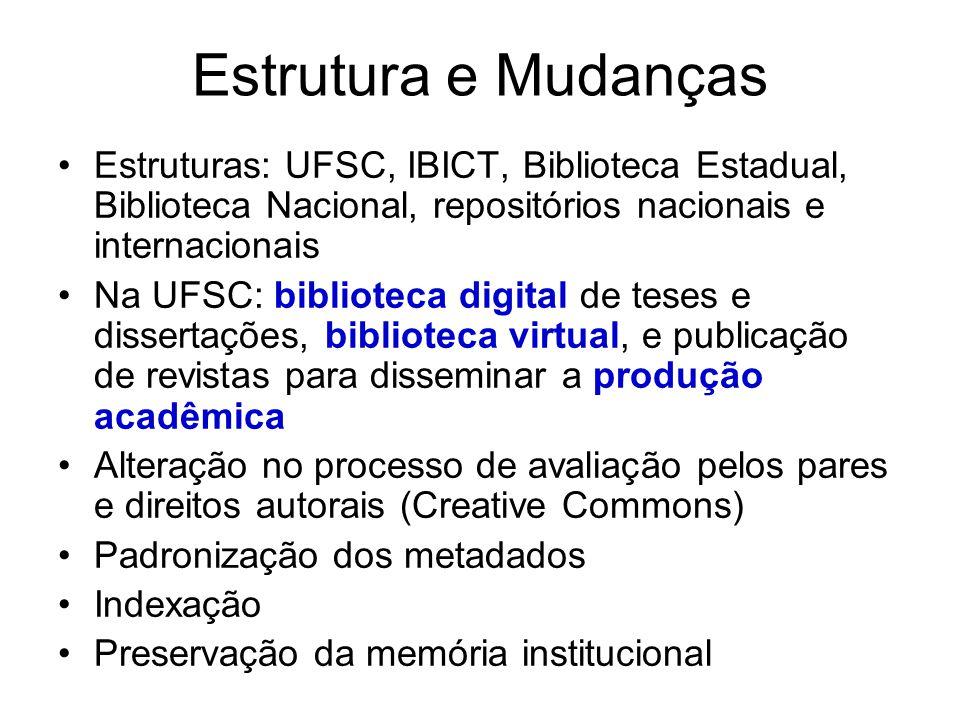 Estrutura e Mudanças Estruturas: UFSC, IBICT, Biblioteca Estadual, Biblioteca Nacional, repositórios nacionais e internacionais.