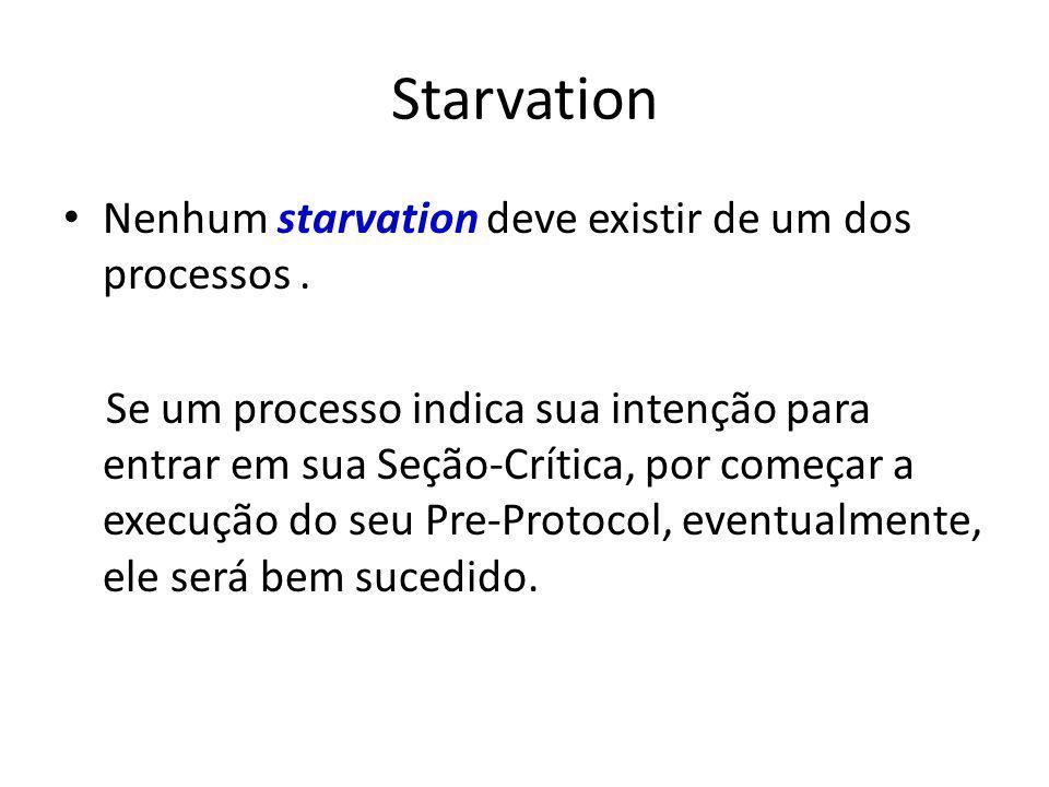 Starvation Nenhum starvation deve existir de um dos processos .
